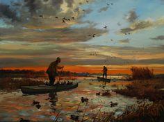 Getting Set Up Duck hunting oil by Brett J Smith Duck Hunting Decor, Hunting Home Decor, Duck Hunting Boat, Hunting Art, Hunting Guns, Waterfowl Hunting, Grouse Hunting, Pheasant Hunting, Hunting Painting