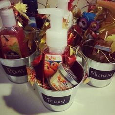 Dollar store buckets, garland, fall scented hand soaps. Cheap, thoughtful, cute gift. Cheap Christmas Gifts, Fall Gifts, Hand Soaps, Fall Scents, Diy Presents, Buckets, Thank You Gifts, Diy Party, Teacher Appreciation