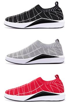 ee46f6627922 Men Strech Flyknit Fabric Hole Breathable Sneakers Casual Skateboarding  Shoes