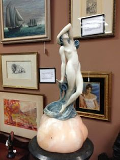 Antiques, Art, and Collectibles: Antique lamp, Art Deco/Nouveau marble sculpture la...