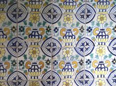 """""""Dutch"""" design tiles, fireplace in the Prince Henry Room, Charlton House, London"""