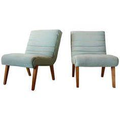Pair Paul Laszlo-style Slipper Chairs