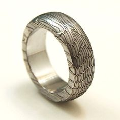 Seamless Stainless Damascus Mens Wedding Ring SIZE 812 by Khas9, $250.00