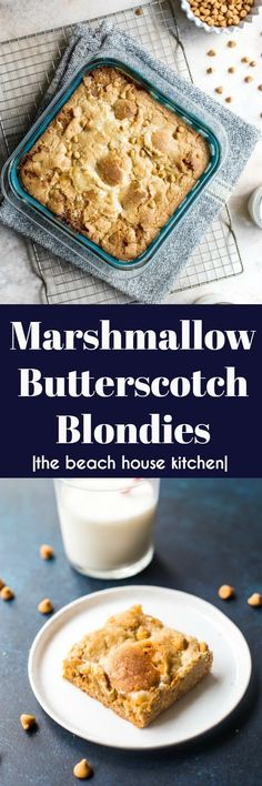 Marshmallow Butterscotch Blondies | These Marshmallow Butterscotch Blondies have got a super yummy flavor combination! They're the perfect sweet treat for your next summer party or picnic. thebeachhousekitchen.com @thebeachhousek #dessert #blondies #butterscotch #marshmallow #cookiebars