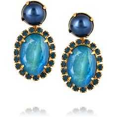 Elizabeth Cole Gold-plated, pearl, opal and Swarovski crystal earrings ($73) ❤ liked on Polyvore featuring jewelry, earrings, metallic, white pearl earrings, pearl jewelry, swarovski crystals jewelry, pearl earrings jewellery and earrings jewelry