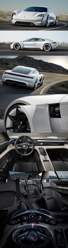 Porsche Mission E - Over 600hp, over 500km driving range, all-wheel drive and all-wheel steering, zero to 60mph in under 3.5 seconds, and a charging time of around 15 minutes to reach an 80% charge.