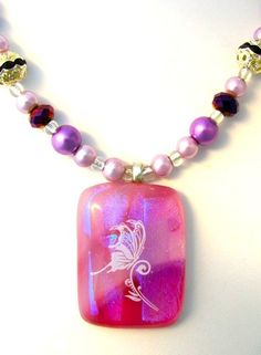'Pink Fused Glass Butterfly Necklace' is going up for auction at  2pm Sun, Oct 14 with a starting bid of $25.