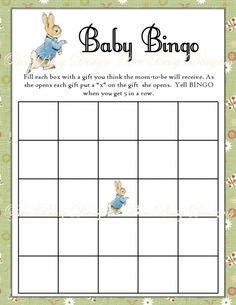 Printable Peter Rabbit Baby Shower Bingo Game INSTANT DOWNLOAD | Bee Busy Designs