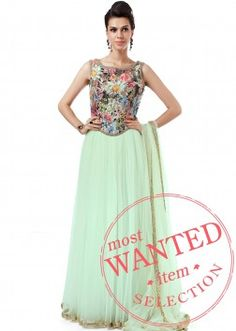 Mint anarkali embellished in weave only on Kalki