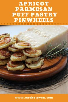 These Apricot Parmesan Puff Pastry Pinwheels are savory bites of deliciousness. These Apricot Parmesan Puff Pastry Pinwheels are savory bites of deliciousness. With only four ing Best Appetizer Recipes, Yummy Appetizers, Appetizers For Party, Great Recipes, Snack Recipes, Recipe Ideas, Vegetarian Appetizers, Tailgating Recipes, Favorite Recipes