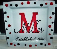 Personalized keepsake wedding plates.Great bridal gift.