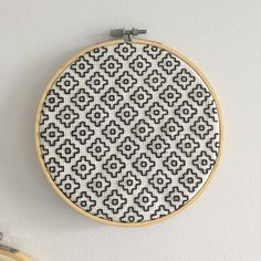 blackwork embroidery on aida cloth in hoop. it's super eye-catching on your wall & people will think ur fancy af. hang with nail or string and tape for a less permanent solution. bundle 2 for off! Celtic Cross Stitch, Blackwork Cross Stitch, Blackwork Embroidery, Cross Stitch Fabric, Cross Stitch Art, Diy Embroidery, Cross Stitch Embroidery, Embroidery Patterns, Funny Cross Stitch Patterns
