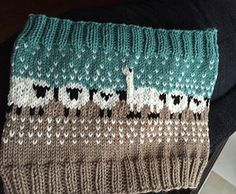 Knit knitted knitting. Pretty sheep and llama pattern. Cowl.
