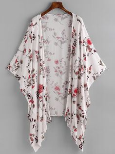 SheIn offers Floral Print Random Asymmetric Hem Kimono & more to fit your fashionable needs.Affordable women's kimono tops online store for every occasion. Shop now for the latest styles of ladies kimono off order.Shop [good_name] at ROMWE, discover Cardigan Fashion, Kimono Fashion, Fashion Dresses, Fashion Styles, Poncho, Kimono Cardigan, Mode Kimono, Suits For Women, Clothes For Women