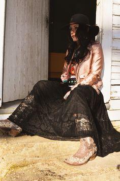 Rose Gold Moto Jacket / Black Lace Skirt Western/Gypsy/Boho Western Chic, Western Wear, Black Lace Skirt, Metallic Jacket, Cowgirls, Moto Jacket, Wild West, Westerns, Boho Fashion