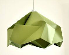 """Now if I could only figure out how to do it! Origami Paper Lamp Shade / Lantern """"Snowflake"""" - GREEN. $50.00, via Etsy."""