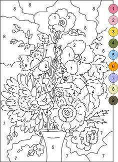 Color by Number Coloring Books for Adults Beautiful Nicole S Free Coloring Pages Color by Numbers Flowers Adult Color By Number, Color By Number Printable, Color By Numbers, Paint By Number, Preschool Coloring Pages, Free Printable Coloring Pages, Coloring Pages For Teenagers, Coloring Pages For Kids, Flower Coloring Pages