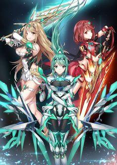 Pyra, Mythra, and Pneuma, master blade - Xenoblade Chronicles 2 Manga Girl, Anime Art Girl, Manga Anime, Fantasy Characters, Female Characters, Anime Characters, Creepypasta Anime, Xenoblade Chronicles 2, Anime Warrior