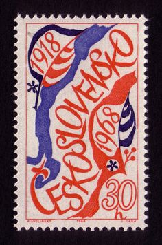 Designer: Karel Svolinský / Engraver: Ladislav Jirka / Year: 1968 / Occasion: anniversary of Czechoslovakia / Printing method: engraving Old Stamps, Vintage Stamps, Czech Tattoo, Going Postal, Album Book, World Best Photos, Mail Art, Stamp Collecting, My Stamp