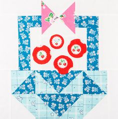 Check out this beautiful Basket Block! Baby Girl Quilts, Girls Quilts, Quilt Kits, Quilt Blocks, Fat Quarter Shop, Quilting Tutorials, Love Is All, Quilt Patterns, Basket