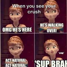 crush memes cuando ves a tu We all have that crush in certain part of our lives, but very few of us are able to convert that crush into life partner, well we have collected some great famous crush funny quotes that will surely explain situation of most of Funny Crush Memes, Crush Humor, Really Funny Memes, Stupid Funny Memes, Funny Relatable Memes, Haha Funny, Crush Quotes, Crush Crush, Funny Stuff