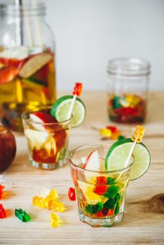 Gummy Bear Sangria —white wine + vodka-soaked gummy bears + apples + sparkling water + lime, because why not, via @yehmolly
