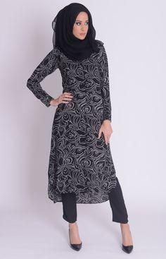 Autumn Swirls Shirt Dress #WhatsNew #New Arrivals #Aab #Style #Fashion #Abaya #Hijab #Modest http://www.aabcollection.com/shop/product/autumn-swirls-shirt-dress/724#