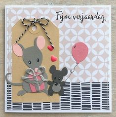 Muisjes #4 - Fijne Verjaardag Marianne Design Cards, Old Cards, Baby Album, Animal Cards, Punch Art, Baby Cards, Paper Piecing, Craft Stores, Paper Crafting