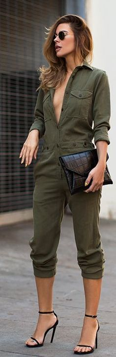 Stylish Shirt Collar Long Sleeves Single-Breasted Jumpsuit For Women