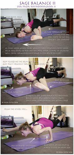 Yoga Gypsy: Yoga Tip Tuesdays: Sage Balance II (Eka Pada Koundinyasana Bikram Yoga Poses, Cool Yoga Poses, Indian Yoga, Bow Pose, Yoga Photos, Yoga Positions, Yoga Tips, Yoga Lifestyle, Best Yoga