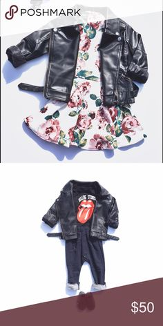 Toddler Moto leather jacket Unisex moto jacket Zipper details Vegan leather Lined                                                                            Visit www.thenewclass.co for more cool kids clothes. $5 flat shipping. Follow us on Instagram for outfit inspiration : thenewclass_ Jackets & Coats
