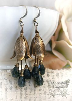 NIGHT FLOWERS vintage Victorian flower earrings in aged brass, free gift boxing