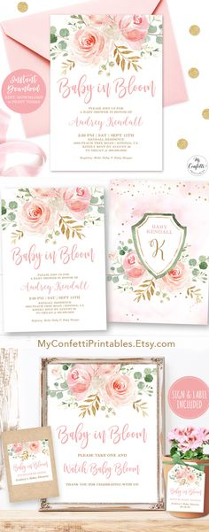 Boho Printable Desserts Sign Girl Sweet Treats Instant Download PDF Blush Pink Floral Sweets /& Treats Sign Floral Baby Shower Template