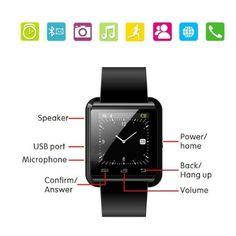 Amazon.com: Pandaoo U8 Bluetooth Smart Watch for Android Smartphones - Black…