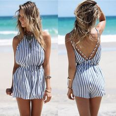 """Striped blue romper – amylynne ! ! ! USE CODE """"PINTEREST"""" FOR 10% OFF YOUR FIRST ORDER ! ! !"""