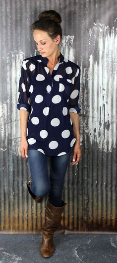 Polka Dot Blouse, jeans and boots