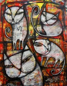 'White Cats' by Dan Casado, painting-collage