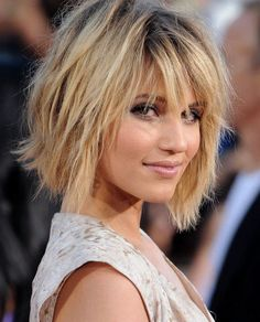 Layered bob haircut.