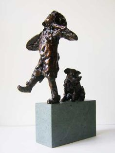Bronze on granite Garden Or Yard / Outside and Outdoor sculpture by artist Graham Ibbeson titled: 'ATTEMPT (Small bronze Little Girl and Dog trying to fly statue/sculpture)'