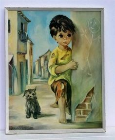 Vintage Dallas Simpson Art Print Little Wayne & Bedraggled Dog 60's Kitsch