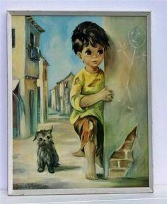 Vintage big eyed art - Dallas Simpson Print Little Wayne & Bedraggled Dog 60's Kitsch