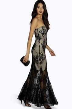 Boutique Khloe All Over Lace Bandeau Maxi Dress at boohoo.com