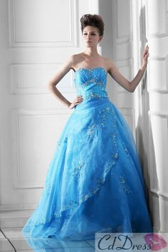 Glimmering Ball Gown Sweetheart Floor-length Organza Beading Prom dress