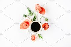 Poppies and coffee mug - Food & Drink