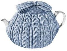 Cable Tea Cozy with Bow Vintage Knitting Pattern for download