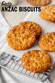 Crunchy on the edges and chewy in the middle this easy Anzac Biscuits recipe is an Aussie classic. These buttery, golden biscuits (aka cookies) can be thrown together and baked all in under 30 minutes. Easy Anzac Biscuits, Buttery Biscuits, How To Bake Biscuits, Custard Biscuits, Baking Biscuits, Healthy Biscuits, Baking Recipes, Cookie Recipes, Dessert Recipes