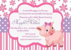 Pink Piggy Baby Shower Invitations - Girl Baby Shower Invitation - DIY or Printed Invite