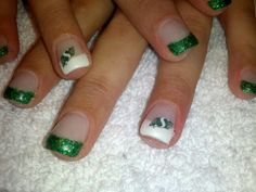 Gel nails white and green sparkles with rider decals!