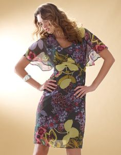 Kimono Sleeve print Dress in ulti £55  Available in sizes 8 - 18 Curvy, Really Curvy and Super Curvy