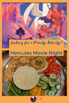 If you are looking for indoor activities with the kids - this Hecules Movie Night is for you. Watch Hercules on Disney+ with themed snacks and activities. Movie Night For Kids, Movie Night Snacks, Dinner And A Movie, Night Food, Family Movie Night, Family Movies, Movie Nights, Disney Dishes, Disney Food